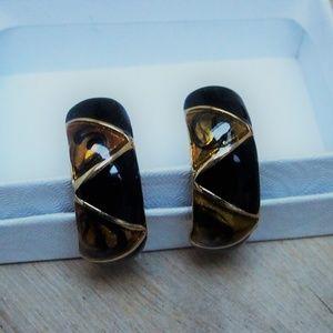 Jet Black Enamel Gold Swirl Glass Earrings